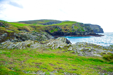 Beautiful landscape of Calf Sound in the Isle of Man, a very famous viewpoint in the island Фото со стока