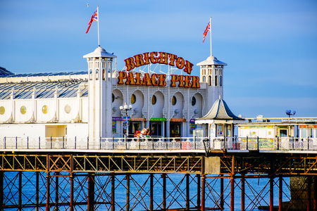Scenic view of Brighton Palace Pier, one of the most popular tourist attraction in the seaside town of Brighton in England, United Kingdom Stock Photo - 116200353