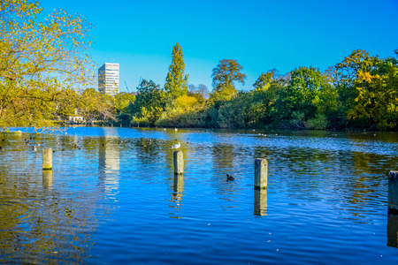 Beautiful landscape view of Serpentine lake in Hyde Park, London, United Kingdom