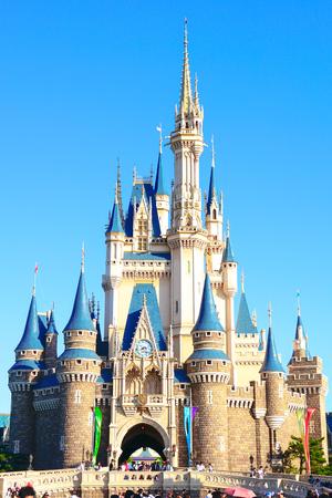 Beautiful Cinderella Castle, the icon of Tokyo Disneyland in Tokyo Disney Resort in Urayasu, Chiba prefecture, Tokyo, Japan 報道画像