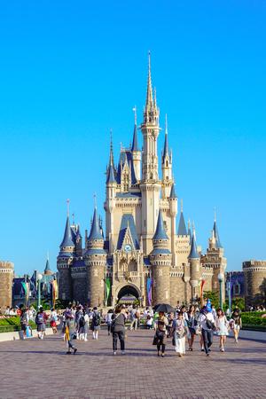 Beautiful Cinderella Castle, the icon of Tokyo Disneyland in Tokyo Disney Resort in Urayasu, Chiba prefecture, Tokyo, Japan Editorial