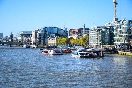 Beautiful landscape view of River Thames and city of London from Tower Bridge, England, United Kingdom Sajtókép