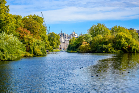 Beautiful landscape view of St James's Park in city of London, England, United Kingdom