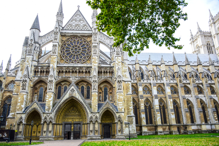 Westminster Abbey, the gothic abbey church at the west of the Palace of Westminster in London, England, United Kingdom