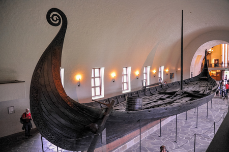 Long big viking boat drakkar ruin displaying in Viking Ship Museum of Bygdoy, Oslo, Norway