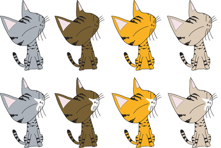 vector tabby cat sitting character have many color isolated white background.
