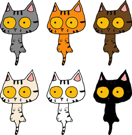 Vector and outline tabby cat excise confuse action sketch character various color isolated white background.