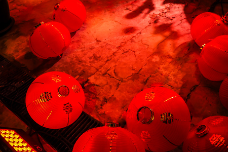 red Chinese lantern with the Chinese character Blessings written Stock fotó - 114663318