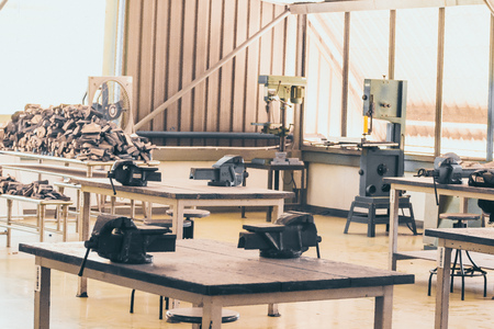 tools and machines for working carpentry workshop. business craft furniture woodwork idea Stockfoto