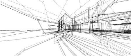 Architecture design concept 3d perspective wire frame rendering isolated white background. For abstract background or wallpaper desktops technology computer design architecture theme .