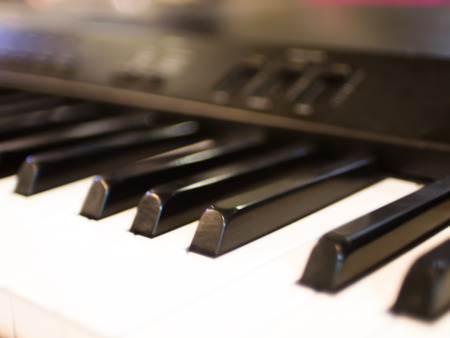 Closeup keyboard piano, musical instrument for rhythm  sound abstract music background.