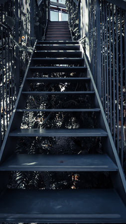Metal stair for step up, moving on, keep it up concept idea. architecture design.