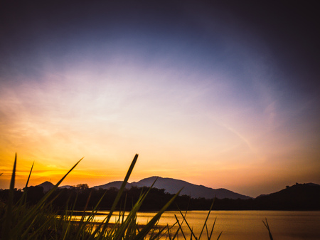 Sunset in the mountains landscape. Summer background. Among nature concept Reklamní fotografie