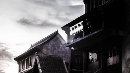 Building of China traditional architecture. Silhouette photography. travel design background.
