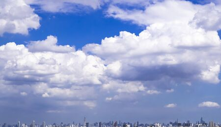 urban panorama cityscape skyline building silhouettes horizontal  during the afternoon. city skyline, Cityscape in blue color sky background
