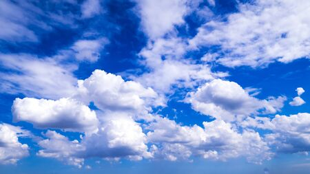 blue sky with cloud closeup . Closeup blue sky and fluffy clouds background Stock Photo