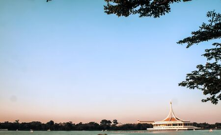 Lake view at Suan Luang Rama 9 Park, Thailand The concept of summer family active recreation.