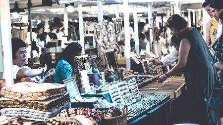 September 2019, cicada Hua Hin Market Thailand, flea market art and handmade products