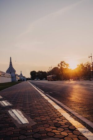 May 2020 Bangkok Thailand, Silence atmosphere in old town of Bangkok Thailand during lock down the city on Sunlight through the Pramane Ground old town Bangkok in evening time
