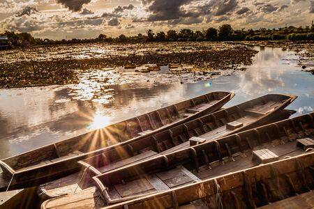 Sunrays on water surface next Wooden Boats in the Pink Lotus Ponds. Old wood boat and red lotus flower in Thailand. Boats float on the surface of a pond at sunset at Thung Bua Daeng Floating Water Market.