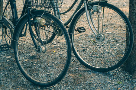 Close up vintage wheel of bicycles abstract show vacation recreation sport travel