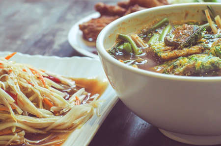 Thai best dish. Thai food. Sour Curry with Vegetable Omelet. Serve with Green Papaya Salad Recipe or Som Tum. Stok Fotoğraf