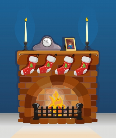 cartoon fireplace: Fireplace on Christmas and New Year with decoration
