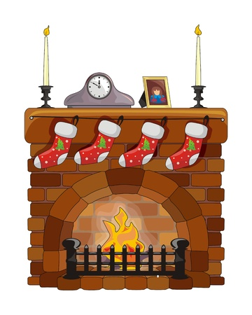 Object fireplace on Christmas and New Year Illustration