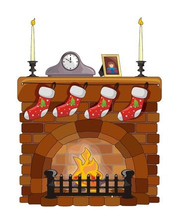 Cheminée d'objets de Noël et du Nouvel An
