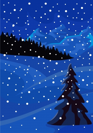 Panorama of wood and mountains in snow winter night Illustration