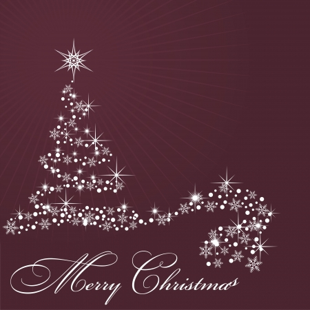 Christmas decorated by snow by tree on claret background Illustration