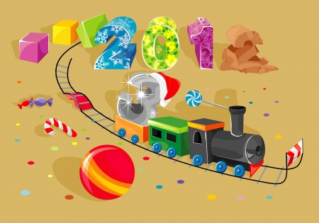 New Year on steam locomotive on change to old year goes Illustration