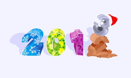 Two breaks sand three, designating approach of New Year