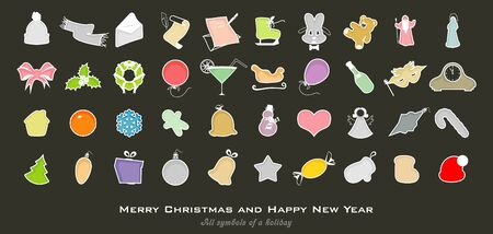 All symbols of a holiday, Christmas and New Year Illustration