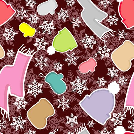 Texture with the image of winter clothes