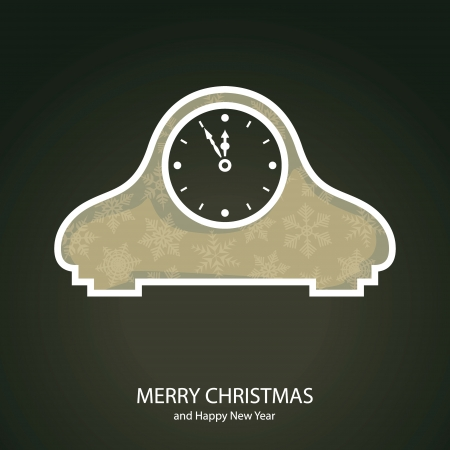 Symbols of Christmas and New Year of form clock