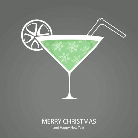 Symbols of Christmas and New Year of form cocktail Illustration