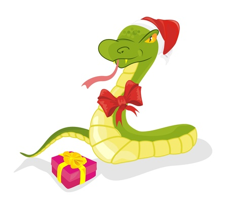Festively dressed snake creeps with gift Stock Vector - 16931499