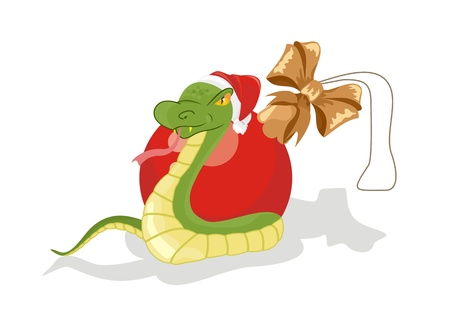 ophidian: Snake in expectation of New Year with Christmas ball Illustration