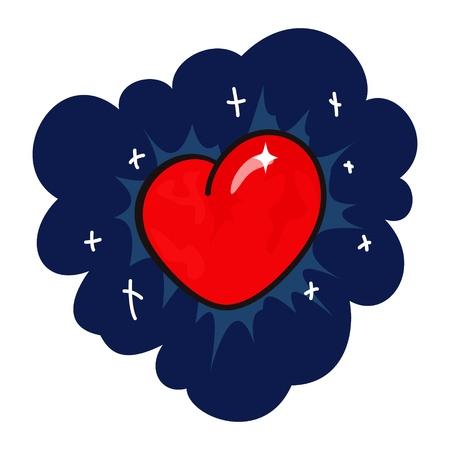 Heart on background of star night sky