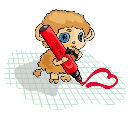 In love lamb writes heart by marker