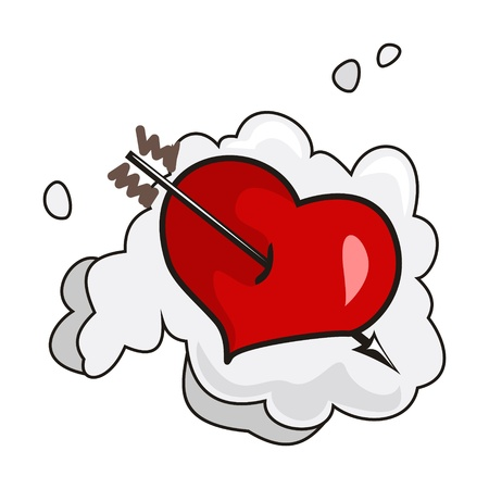 Heart wounded by arrow on a cloud