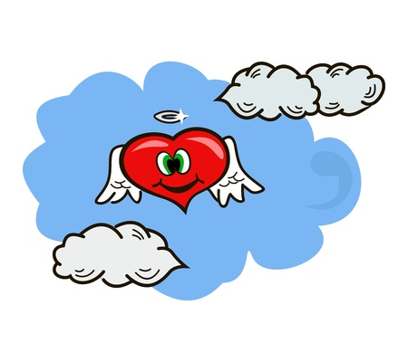 The symbol of love soars in clouds