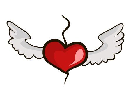 Heart soars above a break wings of love Illustration