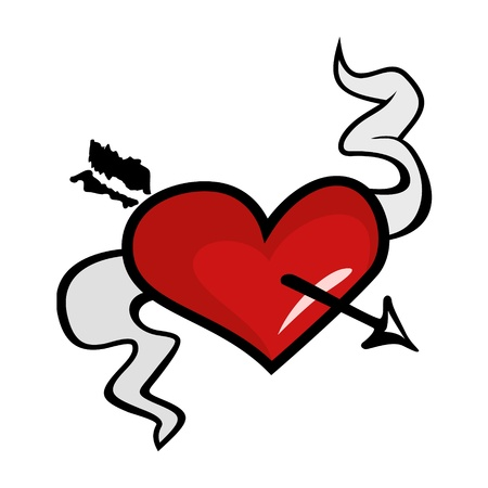 Heart wounded by arrow with tape Illustration