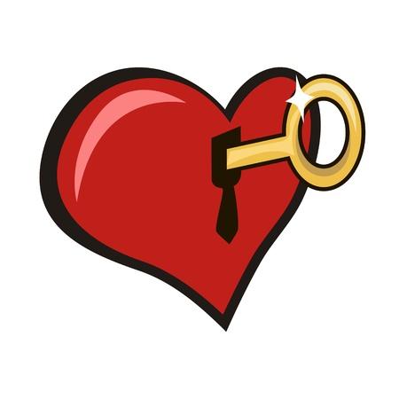 slot met sleuteltje: Te openen met een sleutel het slot in hart