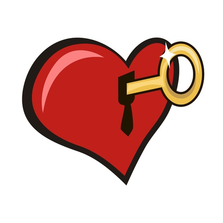 To open by a key the lock in heart Vector