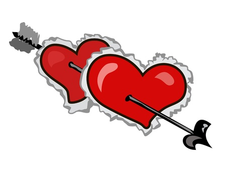 In two hearts with fur have got arrow Vector
