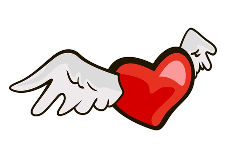 The drawn symbol of love heart with wings