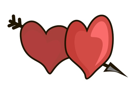 Two hearts nestled to each other and arrow